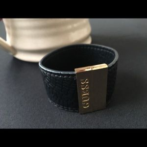Guess faux leather gold magnetic cuff bracelet
